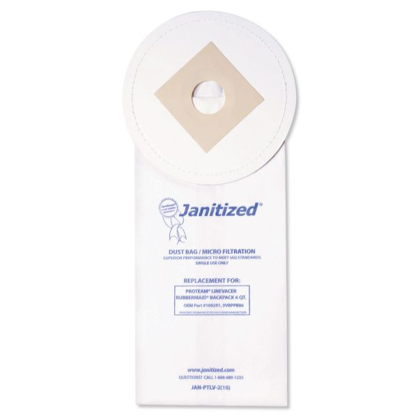 Janitized Vacuum Filter Bags Designed to Fit ProTeam LineVacer/Rubbermaid 9VBP06, 100/CT