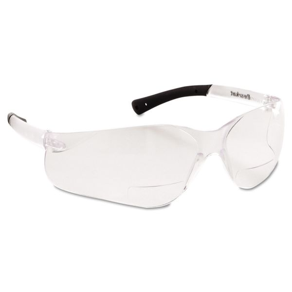 MCR Safety Bearkat Magnifier Protective Eyewear, Clear, 2.5 Diopter