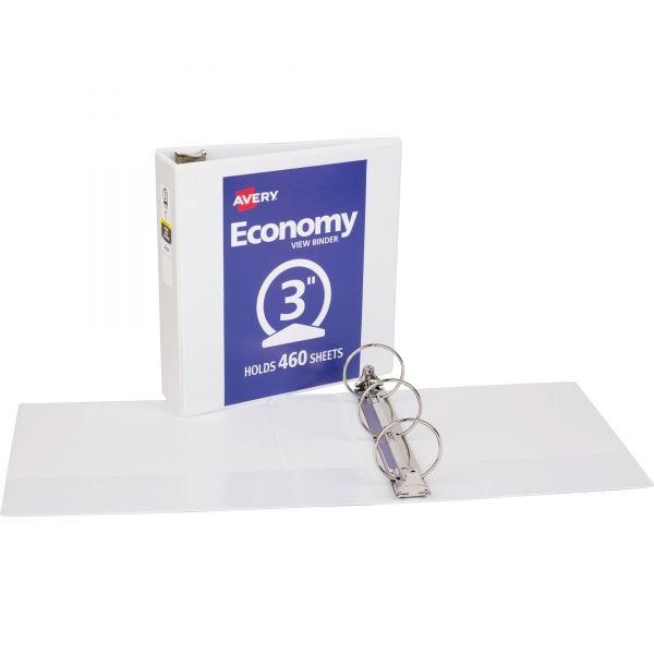 """Avery Economy 3-Ring View Binder, 3"""" Capacity, Round Ring, White"""