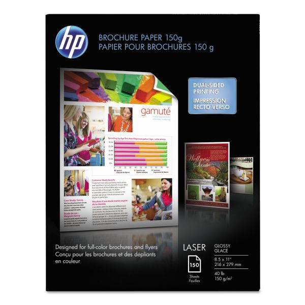 HP Color Laser Brochure Paper, 97 Brightness, 40lb, 8-1/2 x 11, White, 150 Shts/Pk
