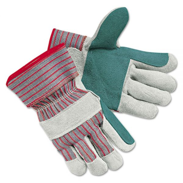MCR Safety Men's Economy Leather Palm Gloves, White/Red, Large, 12 Pairs