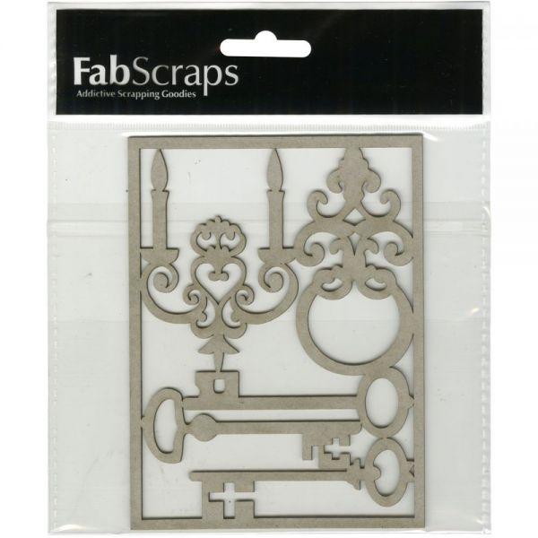 FabScraps Shabby Rose Die-Cut Gray Chipboard Shape