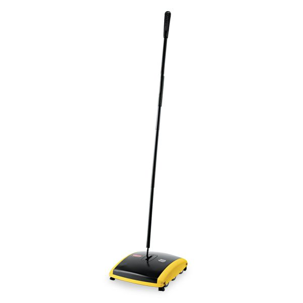 "Rubbermaid Commercial Dual Action Sweeper, Boar/Nylon Bristles, 44"" Steel/Plastic Handle, Black/Yellow"