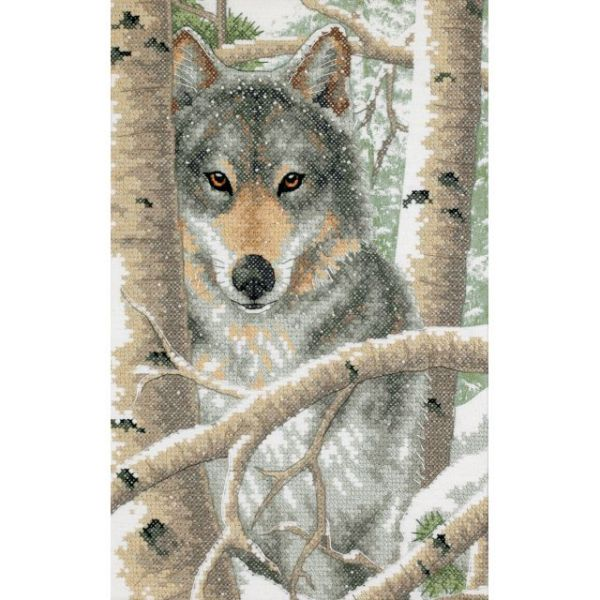 Dimensions Wintry Wolf Stamped Cross Stitch Kit