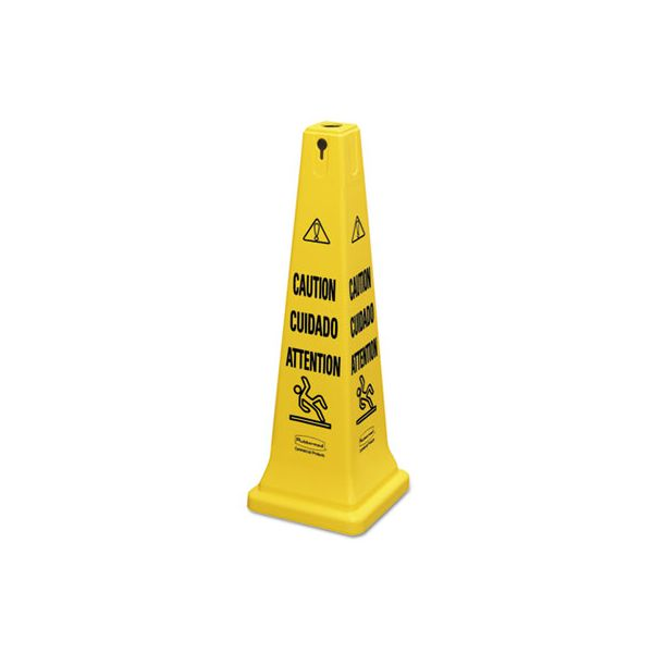 "Rubbermaid Commercial Multilingual Safety Cone, ""CAUTION"", 12 1/4w x 12 1/4d x 36h, Yellow"