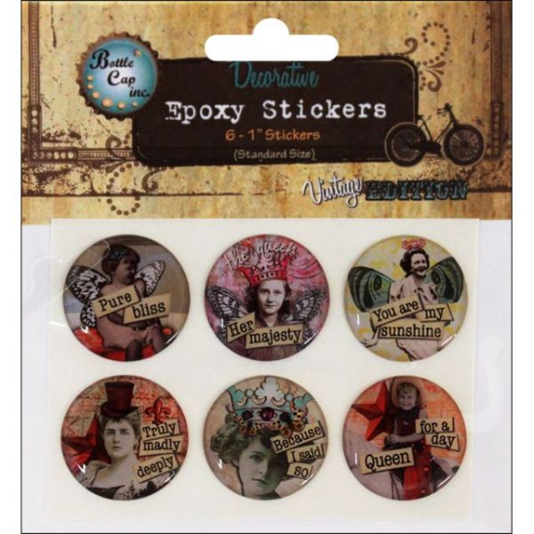 "Vintage Collection Epoxy Stickers 1"" 6/Pkg"