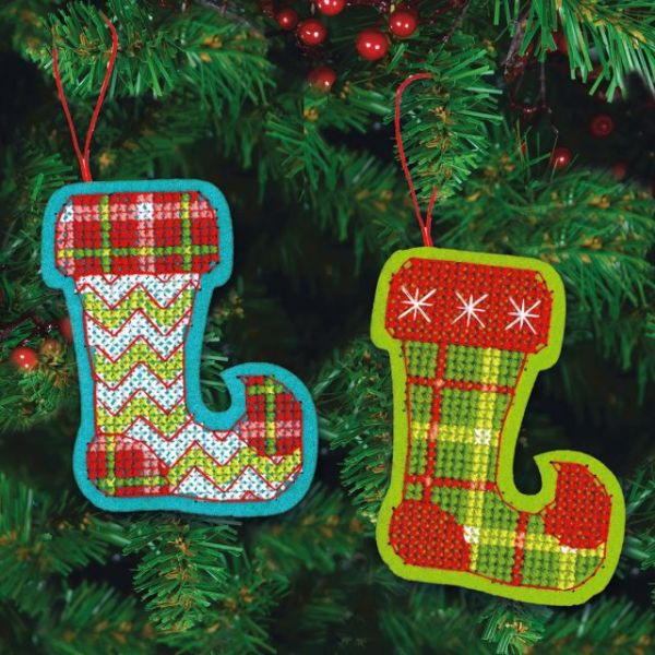 Jolly Stocking Ornaments Felt Counted Cross Stitch Kit