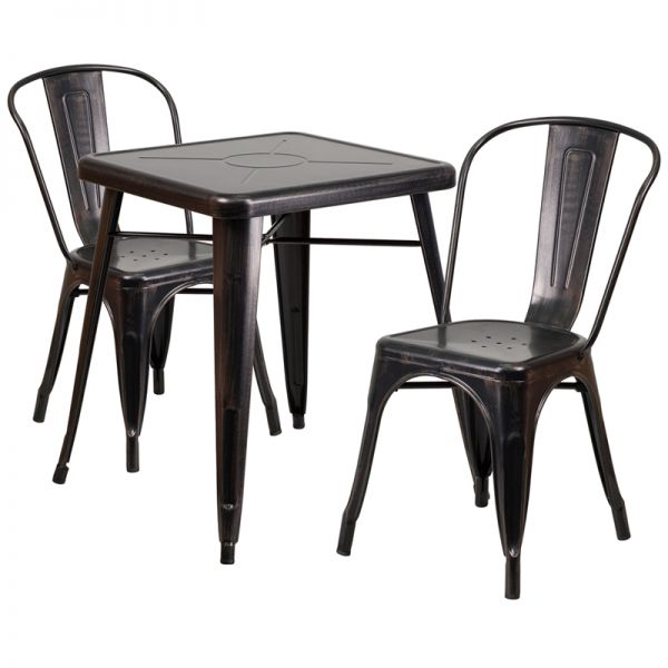 Flash Furniture 23.75'' Square Black-Antique Gold Metal Indoor-Outdoor Table Set with 2 Stack Chairs