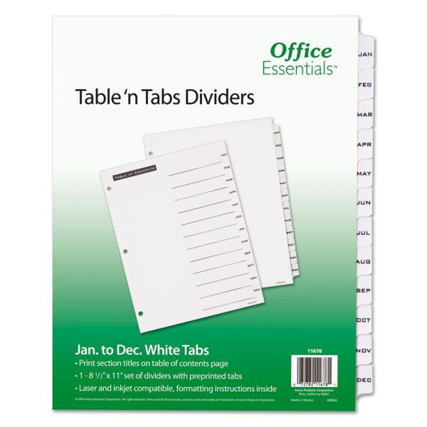 Office Essentials Table 'N Tabs Monthly Index Dividers