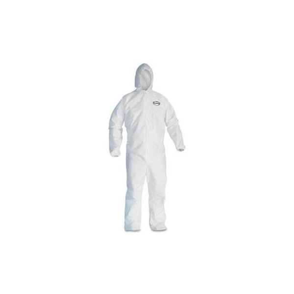 KleenGuard* A30 Elastic-Back & Cuff Hooded Coveralls, White, X-Large, 25/Case