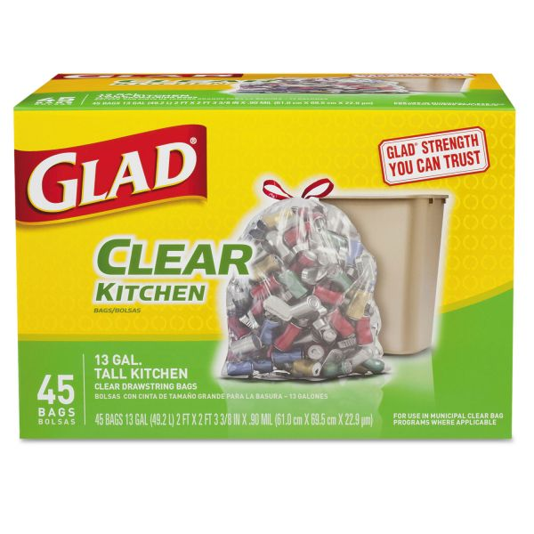 Glad Clear Kitchen 13 Gallon Trash Bags