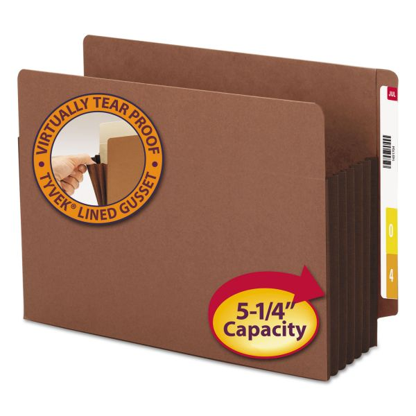 """Smead 5 1/4"""" Exp File Pockets, Straight Tab, Letter, Brown, 10/Box"""