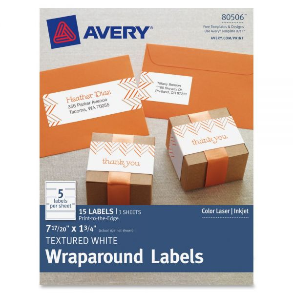 """Avery Textured White Wraparound Labels 80506, 7-17/20"""" x 1-3/4"""", Pack of 15"""