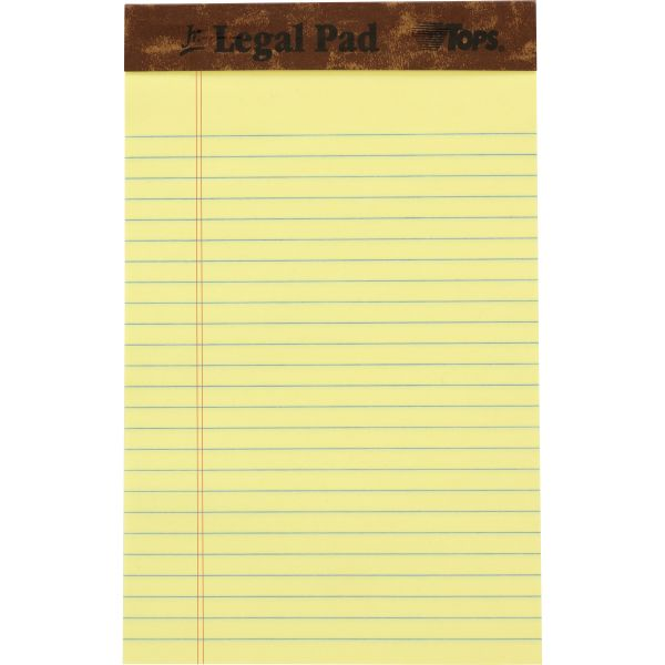 """TOPS """"The Legal Pad"""" Ruled Perforated Pads, 5 x 8, Canary, 50 Sheets, Dozen"""