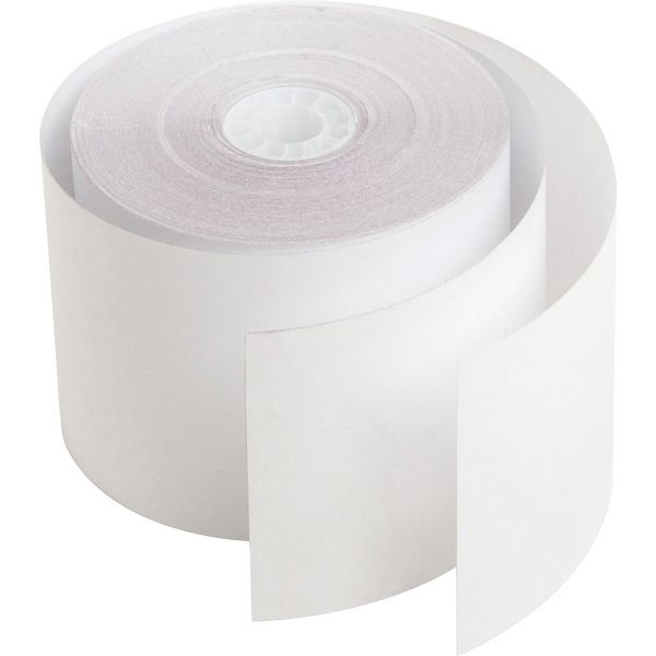 """PM Company Paper Rolls, Two Ply Receipt Rolls, 2 1/4"""" x 90 ft, White/White, 12/Pack"""