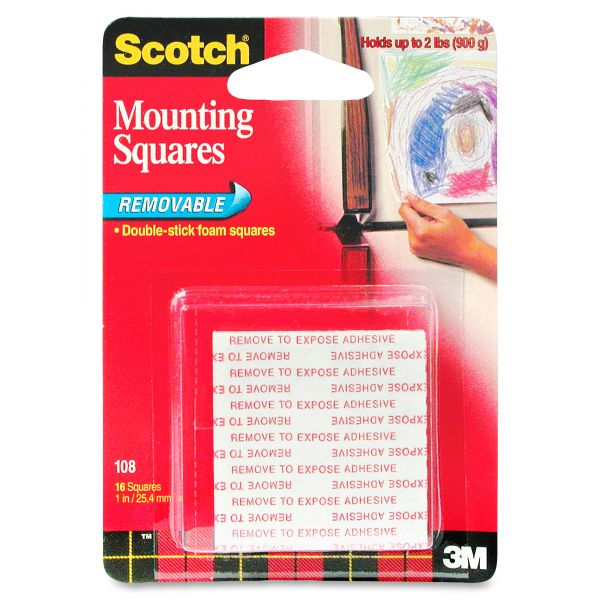 """Scotch Precut Foam Mounting 1"""" Squares, Double-Sided, Removable, 16/Pack"""