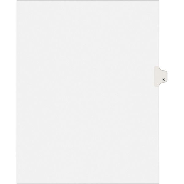 Avery Allstate-Style Legal Exhibit Side Tab Divider, Title: K, Letter, White, 25/Pack