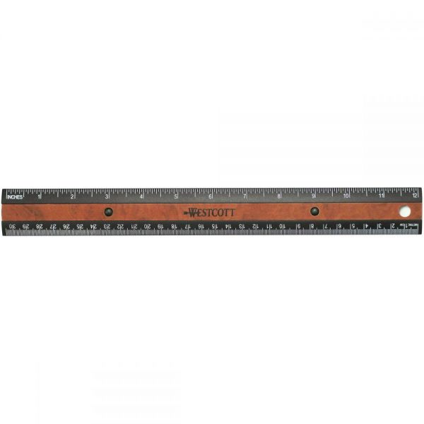 Faux Wood Inlay Ruler 12""