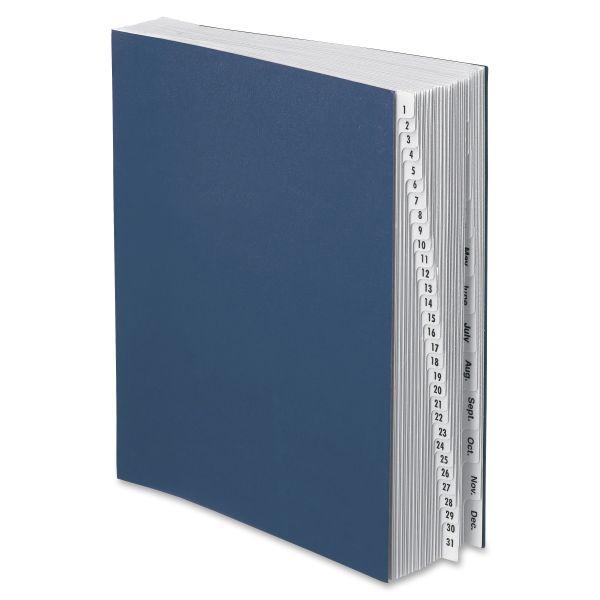 Pendaflex Expanding Desk File, 1-31/Jan-Dec, Letter, Acrylic-Coated Pressboard, Dark Blue