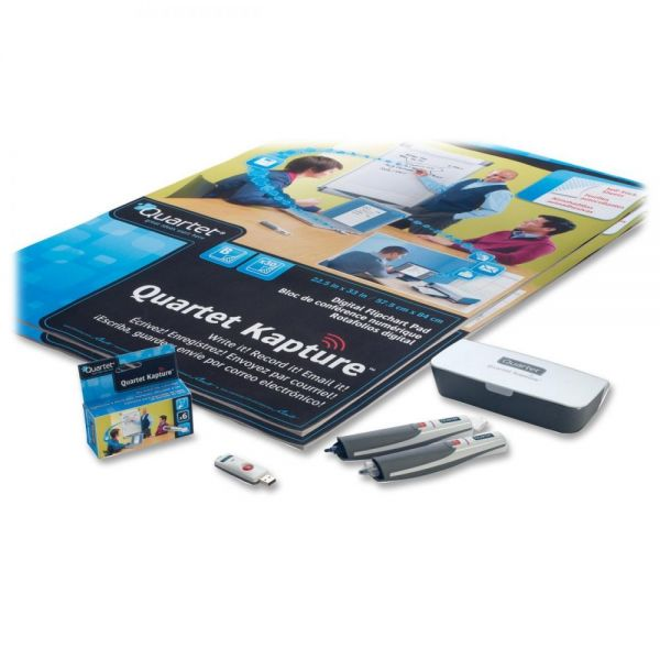 Quartet Kapture Digital Flipchart Office Kit, 2 Pens, 2 Flipcharts, USB Receiver