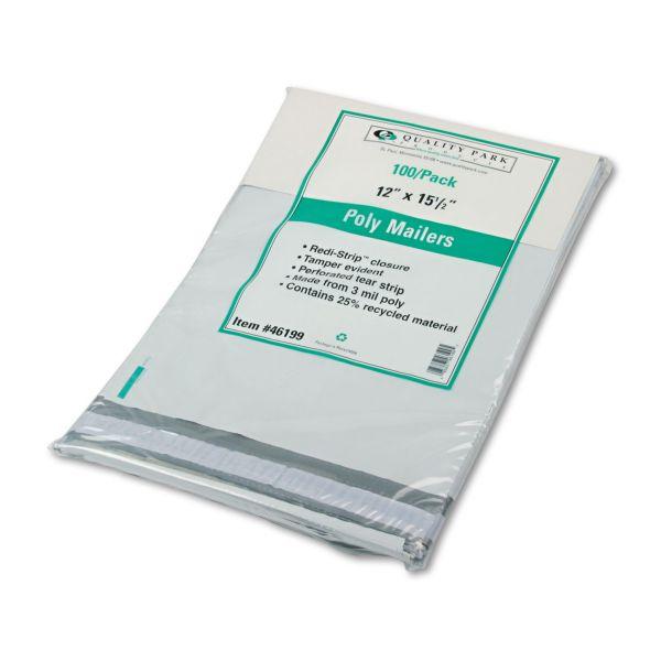 Quality Park Redi Strip Poly Mailer, 12 x 15 1/2, White, 100/Box