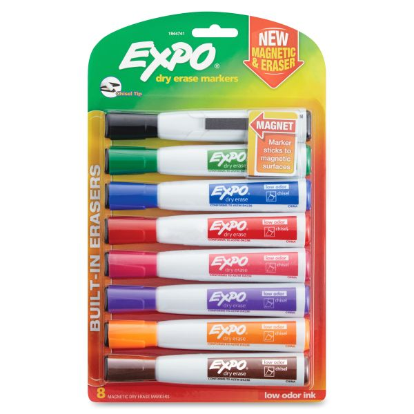 EXPO Magnetic Dry Erase Marker, Chisel Tip, Assorted, 8/Pack
