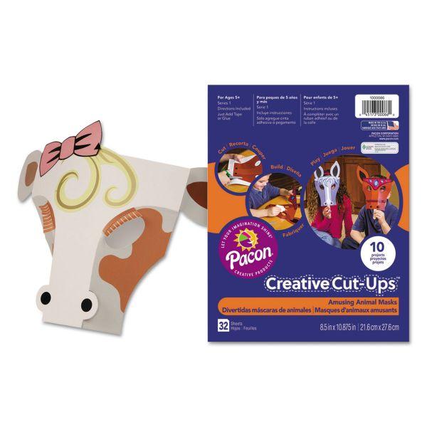 Pacon Creative Cut Ups, Amusing Animal Masks, 8 1/2 x 10 1/2, 32 Sheets