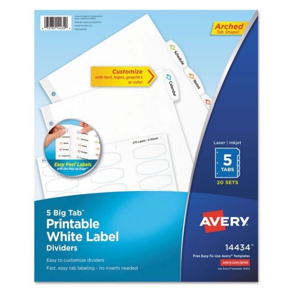 Avery Big Tab White Label Tab Dividers, 5-Tab, White Tab, Letter, 20 Sets