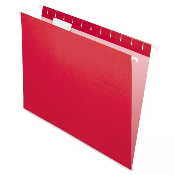 Pendaflex Colored Hanging Folders, 1/5 Tab, Letter, Red, 25/Box