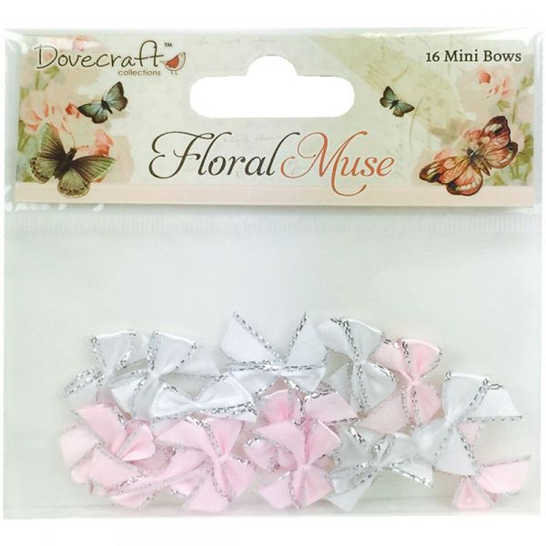 Dovecraft Floral Muse Mini Ribbon Bows 16/Pkg
