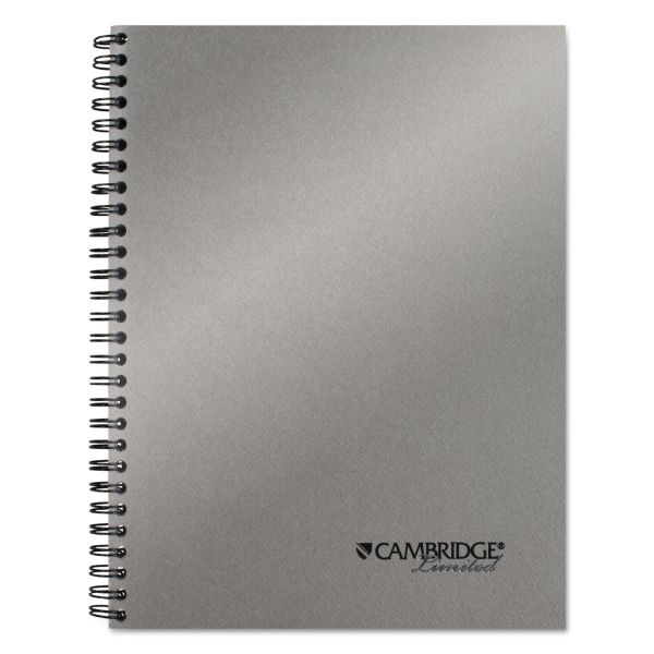 Cambridge Side Bound Guided Business Notebook, 7 1/2 x 9 1/2, Metallic Silver, 80 Sheets