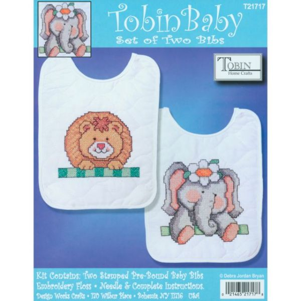 Noah's Ark Bib Pair Stamped Cross Stitch Kit