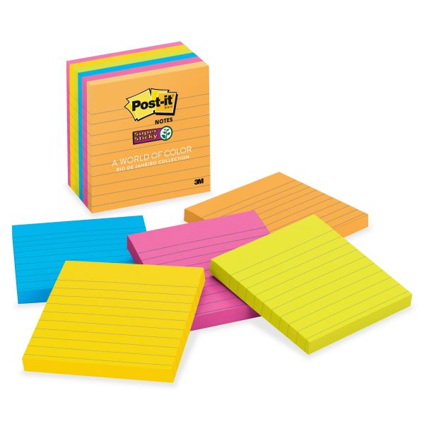 Post-it Notes Super Sticky Pads in Rio de Janeiro Colors, Lined, 4 x 4, 90-Sheet, 6/Pack