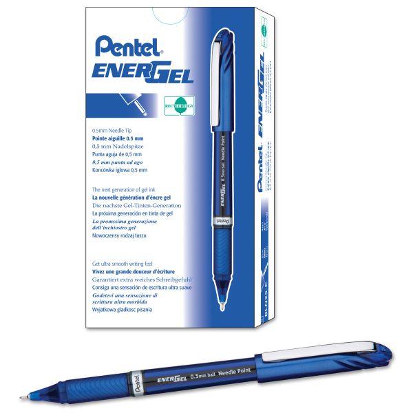 Pentel EnerGel NV Liquid Gel Pen, .5mm, Blue Barrel, Blue Ink, Dozen
