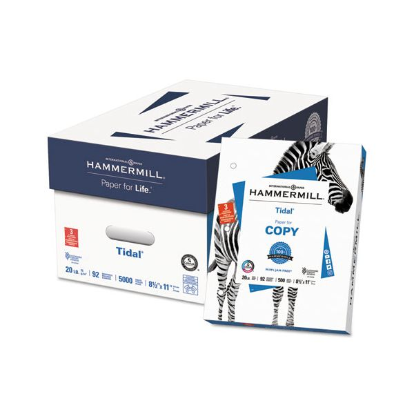 Hammermill Tidal MP Copy 3-Hole Punched Paper, 92 Brightness, 20 lb, 8 1/2 x 11, White, 5000 Sheets/Carton