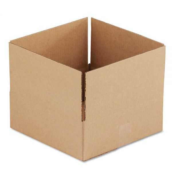 General Supply Brown Corrugated - Fixed-Depth Shipping Boxes, 12l x 12w x 4h, 25/Bundle