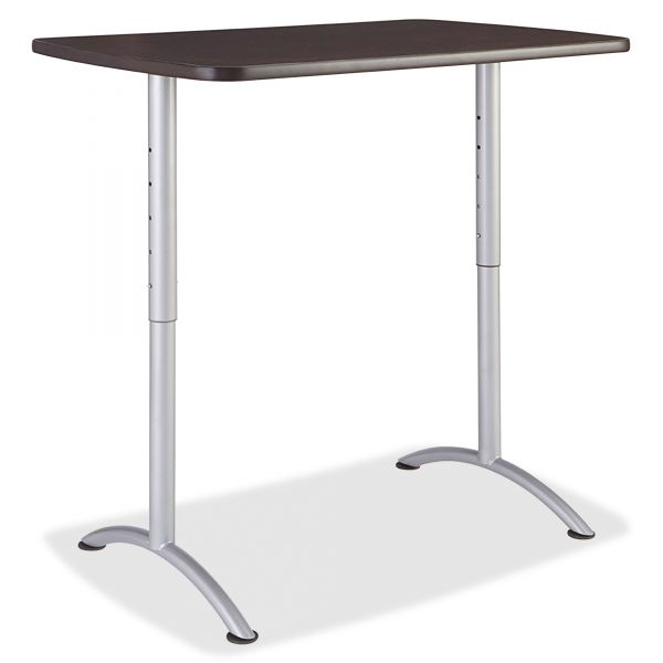 Iceberg ARC Sit-to-Stand Tables, Rectangular Top, 30w x 48d x 36-48h, Gray Walnut/Silver