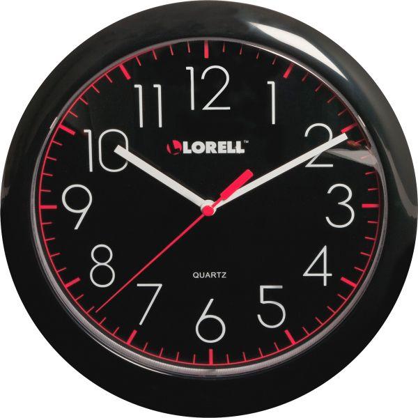 """Lorell 10"""" Quartz Black Face Wall Clock"""