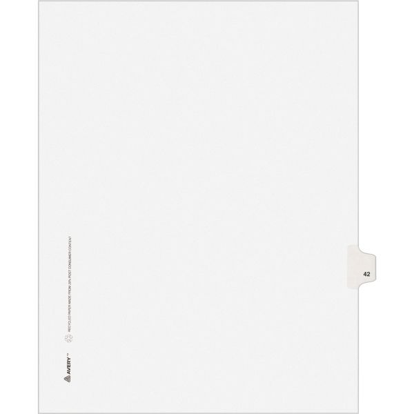 Avery Allstate-Style Legal Exhibit Side Tab Divider, Title: 42, Letter, White, 25/Pack