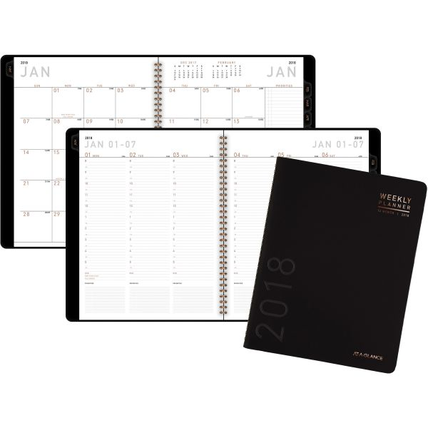 AT-A-GLANCE Contemporary Weekly/Monthly Planner, Column, 8 1/4 x 10 7/8, Black Cover, 2018