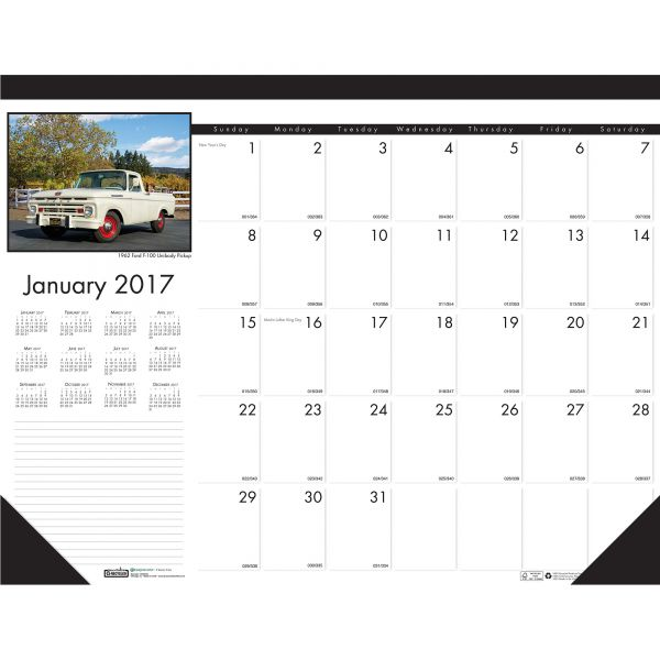 House of Doolittle Classic Cars Photographic Monthly Desk Pad Calendar