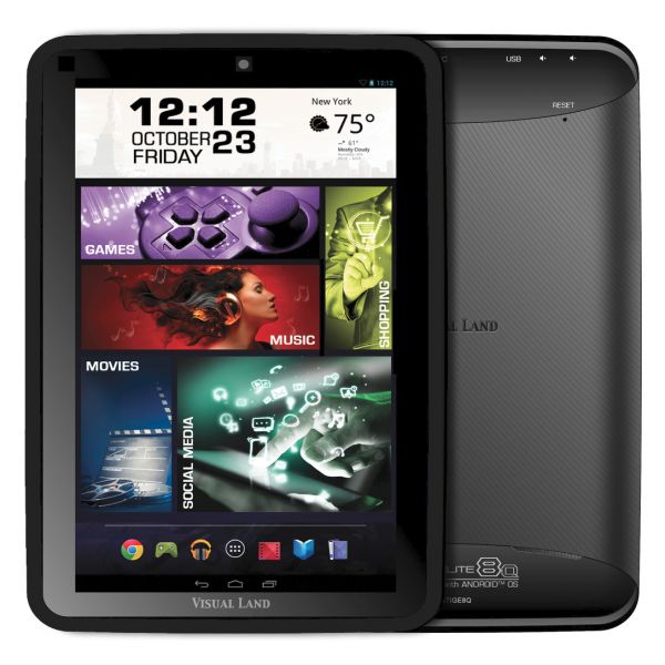 "Visual Land Prestige Elite 8Q 8 GB Tablet - 8"" - Wireless LAN - Quad-core (4 Core) 1.60 GHz - Black"