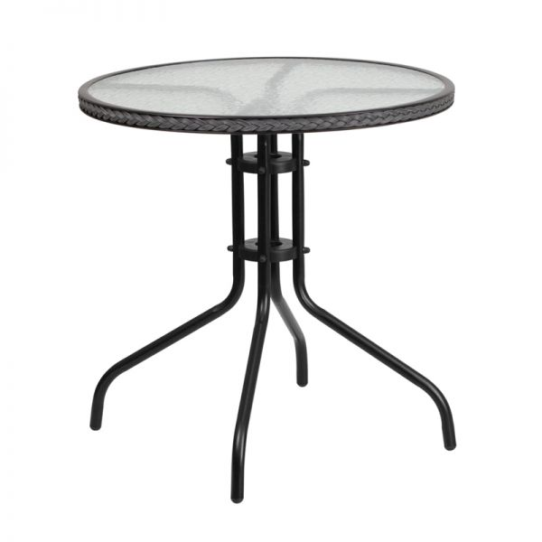Flash Furniture 28'' Round Tempered Glass Metal Table with Gray Rattan Edging