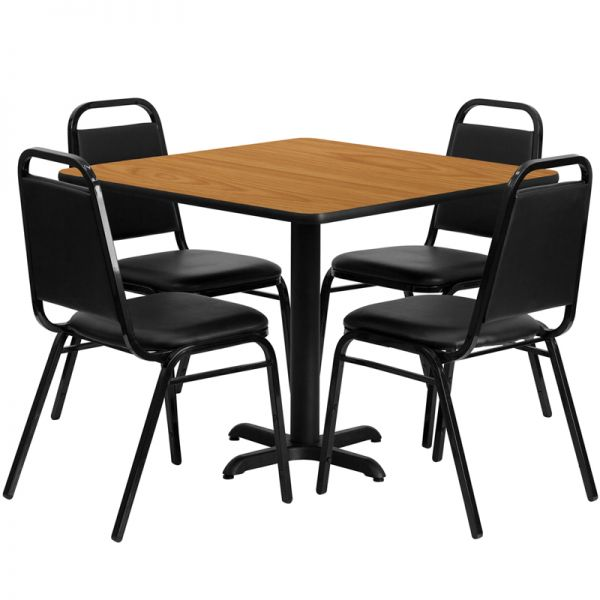 Flash Furniture 36'' Square Natural Laminate Table Set with 4 Black Trapezoidal Back Banquet Chairs