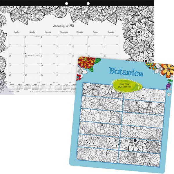 Blueline Botanica Design Coloring Monthly Desk Pad Calendar