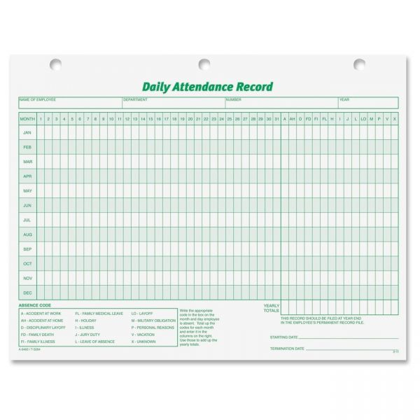 TOPS Daily Employee Attendance Record Form
