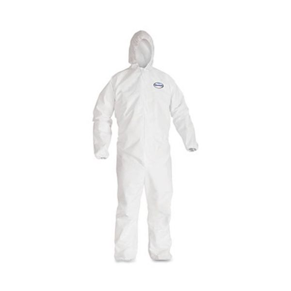 KleenGuard* A40 Elastic-Cuff & Ankle Hooded Coveralls, White, Large, 25/Carton