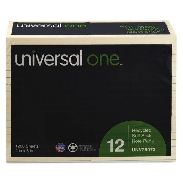 Universal One Ruled/Lined Recycled Adhesive Note Pads