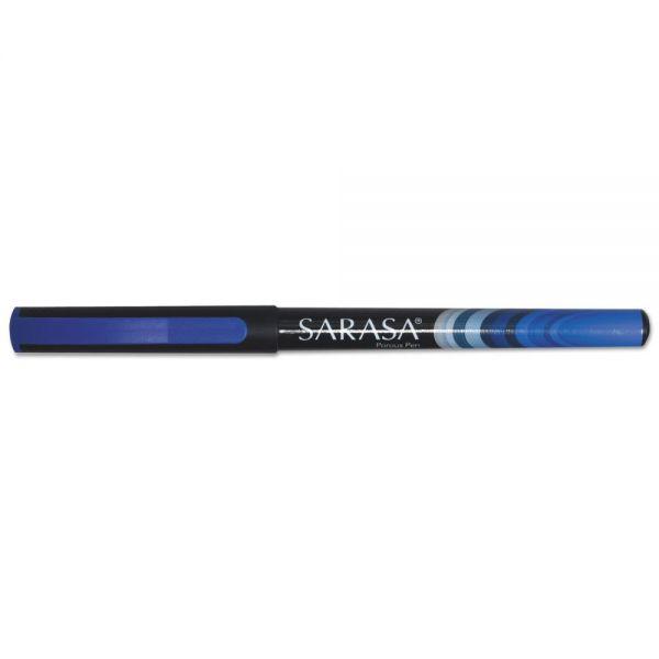 Zebra Sarasa Porous Pen, 0.8 mm, Fine, Blue, Dozen
