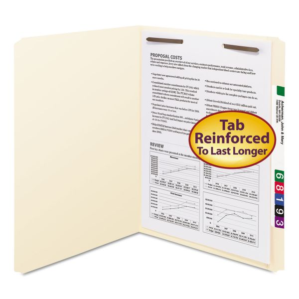 Smead Folders, One Fastener, Straight Cut, Top Tab, Letter, Manila, 50/Box